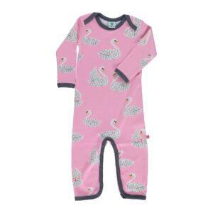 Småfolk natdragt til pige. Print med svaner og lyserød uld bomuld.