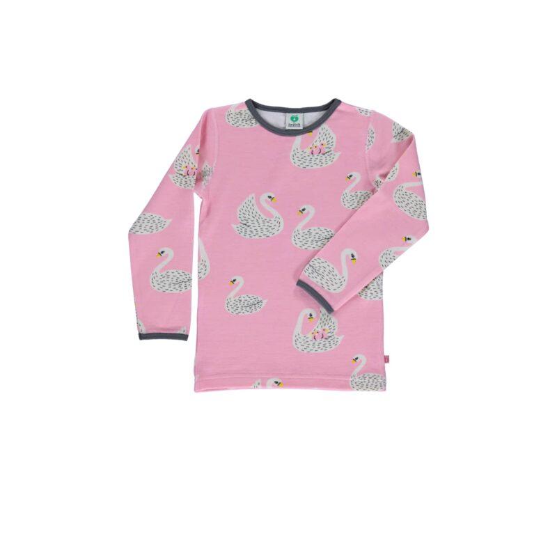 Natbluse til pige i lyserød. Print af svaner.
