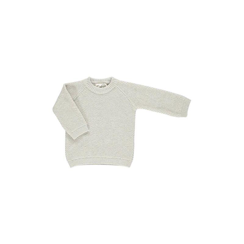 Trøje til barn i strikket uld. Råhvid striktrøje i perlestrik fra GRO.