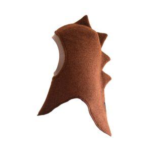 Huttelihut dino elefanthue. Rødbrun model.