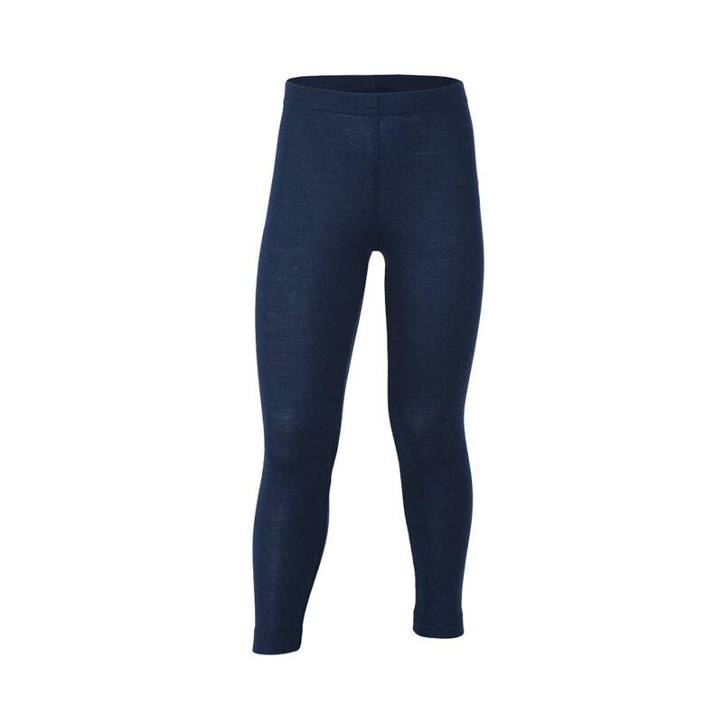 Lange underbukser eller natbukser til barn. Blå skiunderbukser i uld silke. Økologisk. Engel.