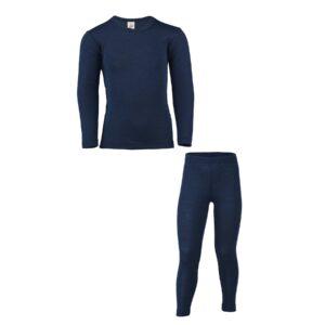 Skiundertøj til barn i uld silke. Blå bæredygtig merinould. Engel