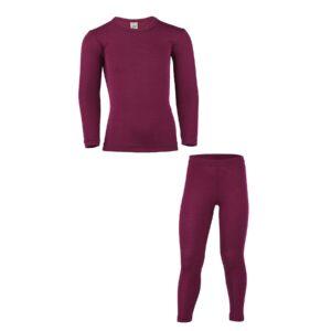 Skiundertøj til barn i uld silke. Bordeaux bæredygtig merinould. Engel
