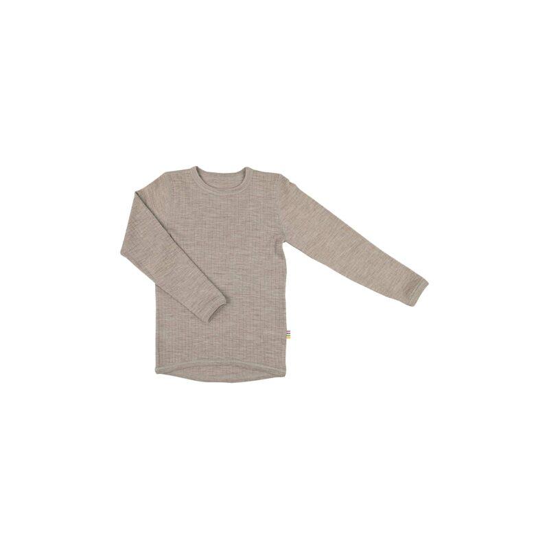 Skiundertrøje i merinould. Langærmet undertrøje der også kan bruges som nattrøje. Sesam merinould. Joha.