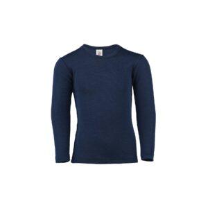 Langærmet undertrøje eller nattrøje til barn. Blå skiundertrøje i uld silke. Økologisk. Engel.