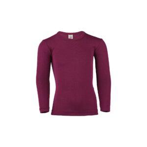 Langærmet undertrøje eller nattrøje til barn. Rød skiundertrøje i uld silke. Økologisk. Engel.