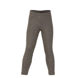 Lange underbukser eller natbukser til barn. Valnød brun skiunderbukser i uld silke. Økologisk. Engel.