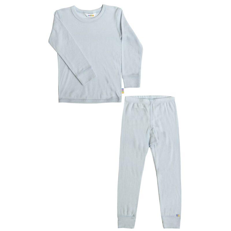 Nattøj sæt fra Joha i lyseblå 100% merinould. Lange underbukser og langærmet undertrøje.