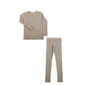 Joha skiundertøj. Sæt bestående af langærmet undertrøje og lange underbukser. Sæt i valnødefarvet uld silke.