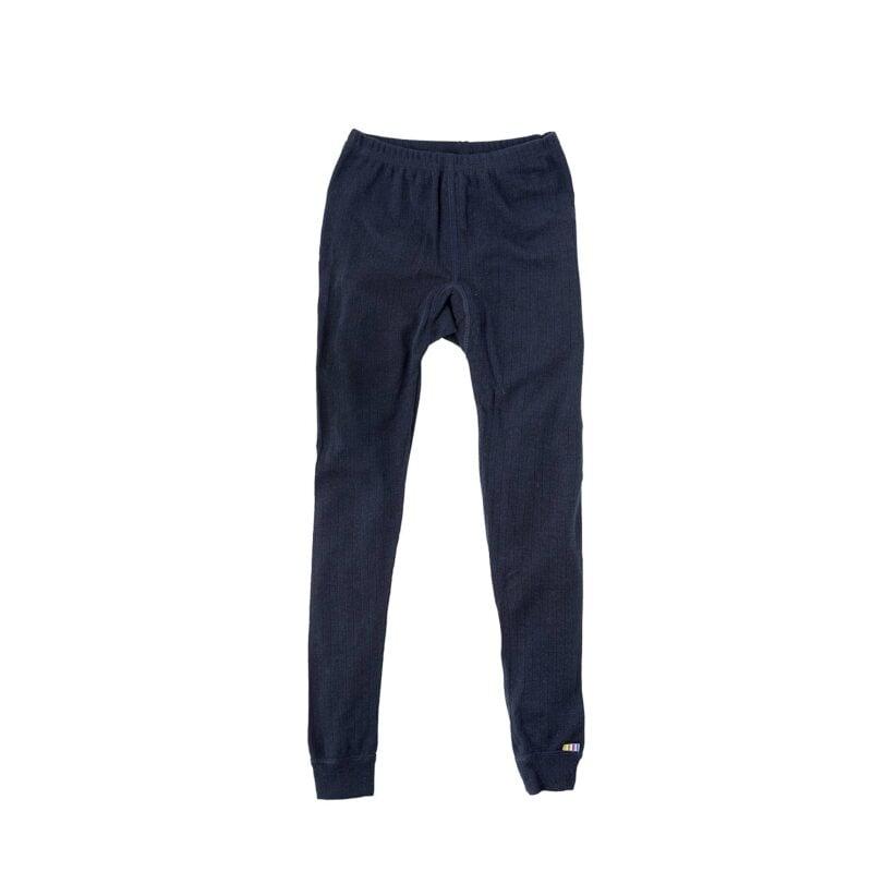 Joha skiunderbukser til børn. Blå 100% merinould. Lange underbukser der også kan bruges som natbukser.