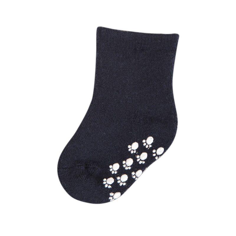 Joha skridsikre sokker til baby. Strømper med dutter. Blå uld.