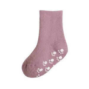 Joha skridsikre sokker til baby. Strømper med dutter. Gammelrosa uld.