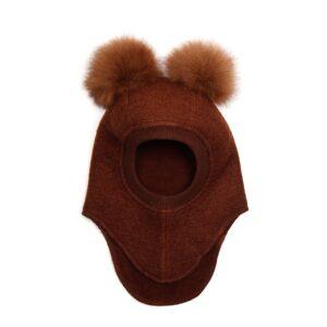 Huttelihut elefanthue med 2 kvaste. Eg farvet uld og kvaste.