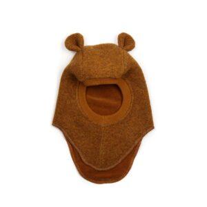 Huttelihut elefanthue med små ører. Okker-farvet uldfilt elefanthue til børn.
