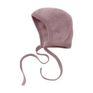 Baby hue i uldfleece. 100% økologisk uld. Rosa hjelm fra Engel. GOTS.