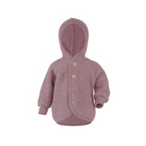 Engel babyjakke i uld. Uldfleece uldjakke i rosa.