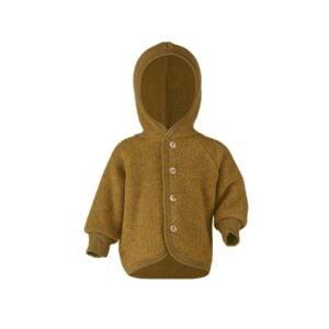 Engel babyjakke i uld. Uldfleece uldjakke i safran.