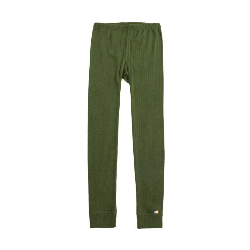 Skiunderbukser i merinould til barn. Lange underbukser der også kan bruges som natbukser. Grøn merinould. Joha.
