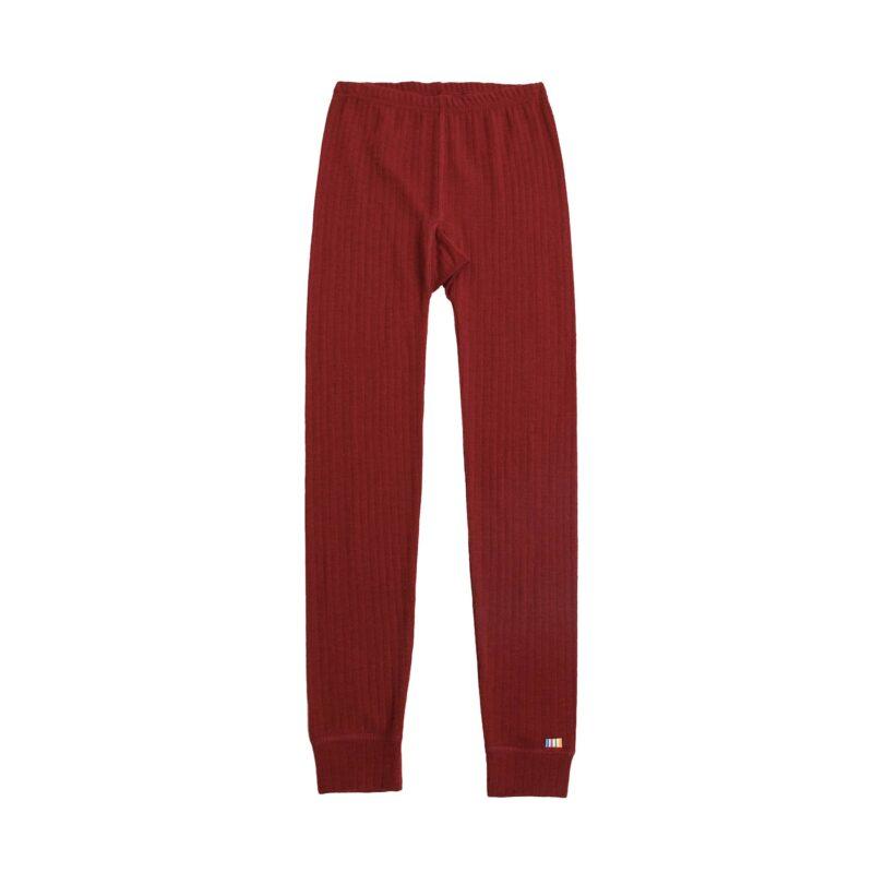 Skiunderbukser i merinould til barn. Lange underbukser der også kan bruges som natbukser. Rød merinould. Joha.