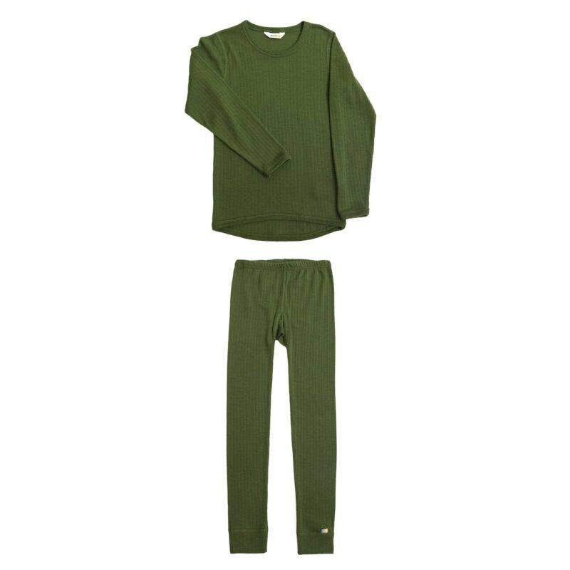 Joha skiundertøj sæt til børn. Grøn merinould.