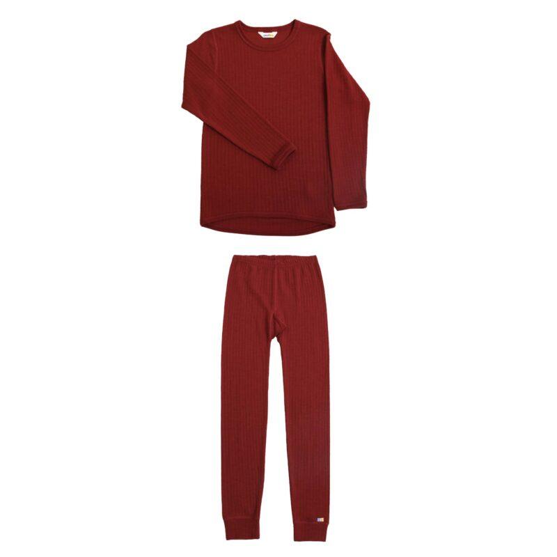 Joha skiundertøj sæt til børn. Rød merinould.