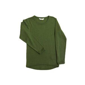 Skiundertrøje i merinould. Langærmet undertrøje der også kan bruges som nattrøje. Grøn merinould. Joha.