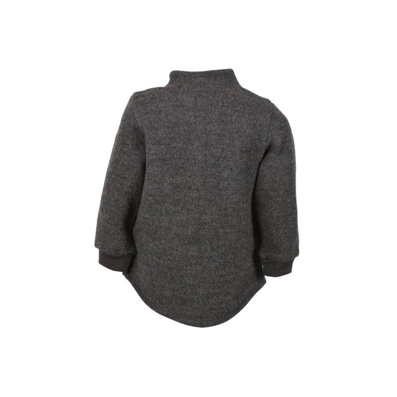 Bagsiden af Mikk-Line uldjakke i mørkegrå kogt uld.