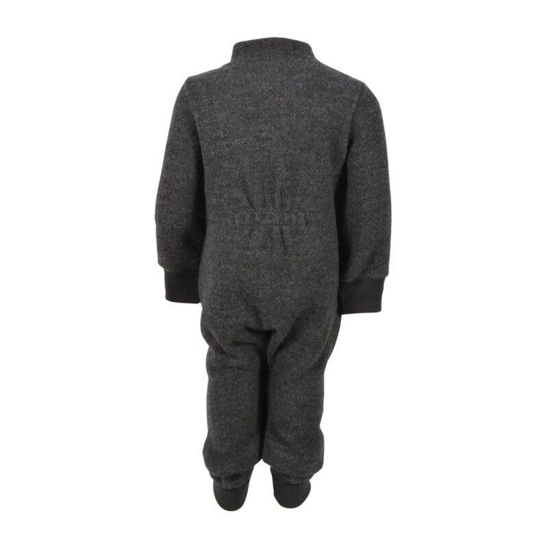 Bagsiden af Mikk-Line køredragt i kogt uld. 100% merinould i mørkegrå.