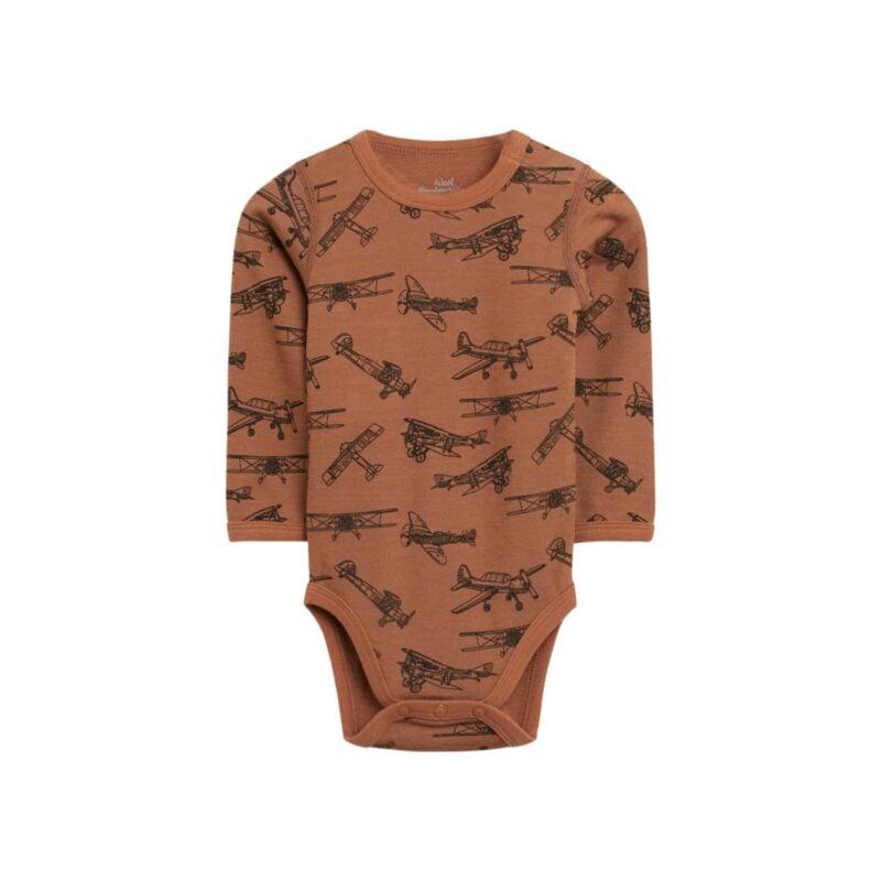 Hust & Claire body med lange ærmer. Body i uld og bambus. Brun med print af fly.