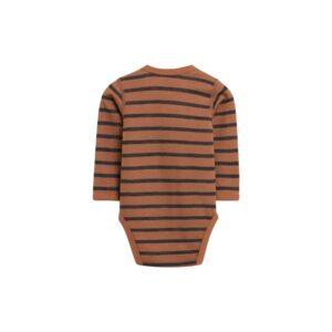 Hust & Claire body med lange ærmer. Body i uld bambus. Stribet brun.
