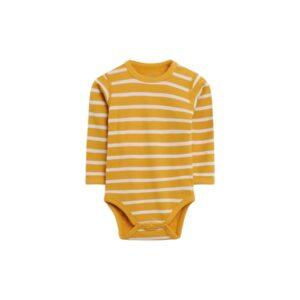 Hust & Claire body med lange ærmer. Body i uld bambus. Stribet gul.