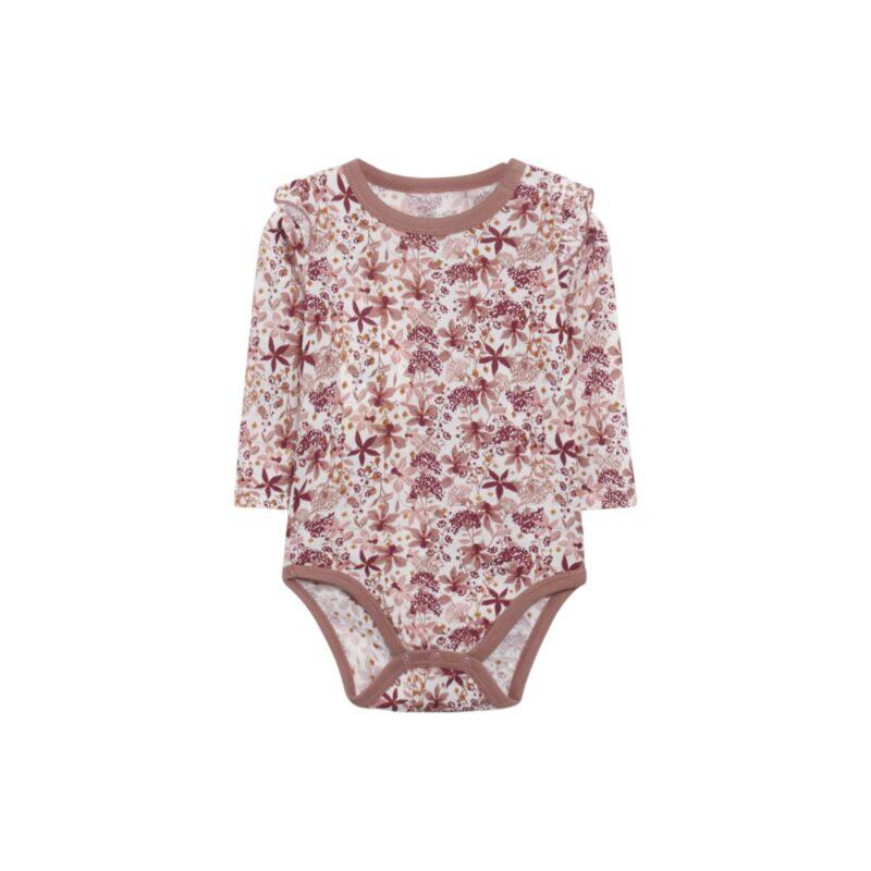Hust & Claire body i uld silke. Bodyen er i blomstret mønster i rødbrune nuancer. Flæsekanter på skuldre.