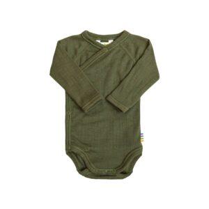 Body til for tidligt født. Body i støvet grøn merinould fra Joha.