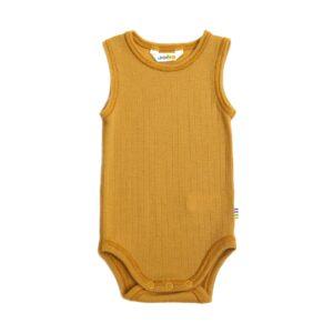 Joha body uden ærmer. Sommerbody i uld. Karry gul.