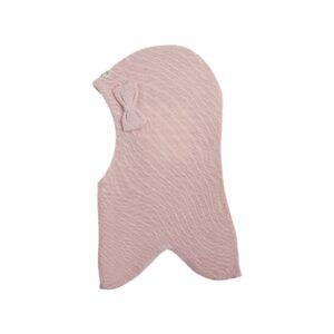 Elefanthue fra Racing Kids. Elefanthuen med rund pasform i lys rosa uld og en sløjfe på venstre side.