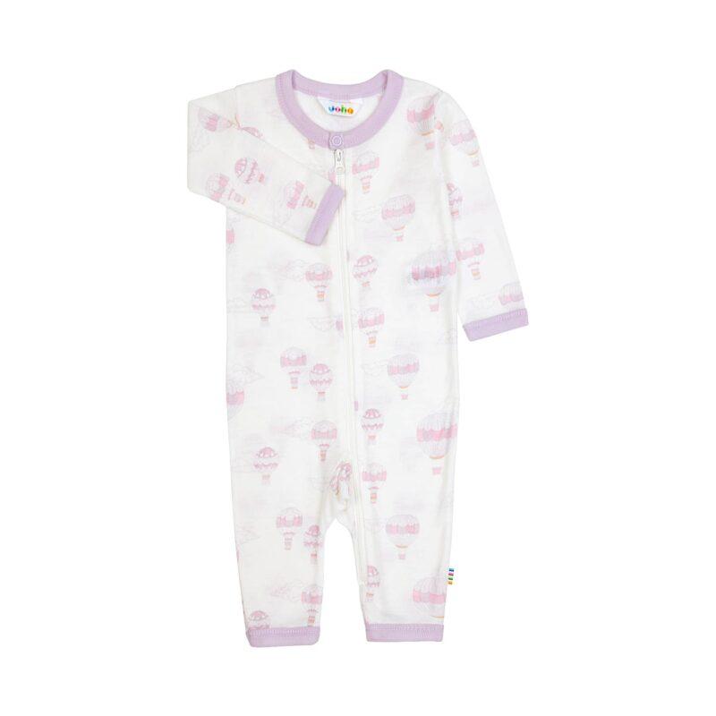 Joha natdragt med lynlås. Dragten er i uld og silke. Natdragten har rosa print med luftballoner.