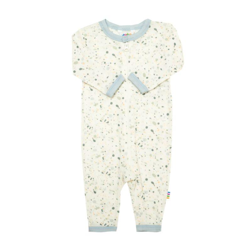 Joha natdragt med lynlås. Natdragt til baby i 100% merinould. Print motiv af malerklatter og blå kantbånd.