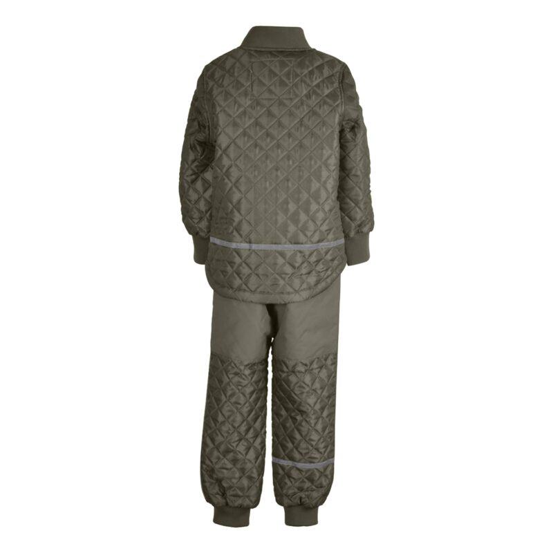 Mikk-Line termotøj. Sæt bestående af termobukser og termojakke i støvet grøn. Bagsiden.