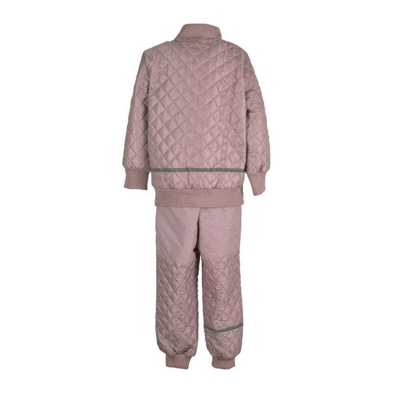 Mikk-Line termotøj. Sæt bestående af termobukser og termojakke i rosa. Bagsiden