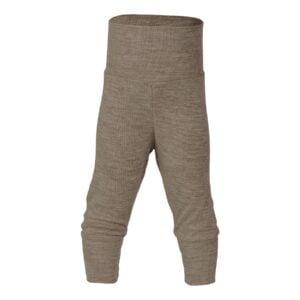Engel bukser til baby. Bukser i valnødfarvet uld silke. Bæredygtigt børnetøj.