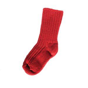 Tyk uld strømpe til barn. Joha strømpe i uld. Rød.