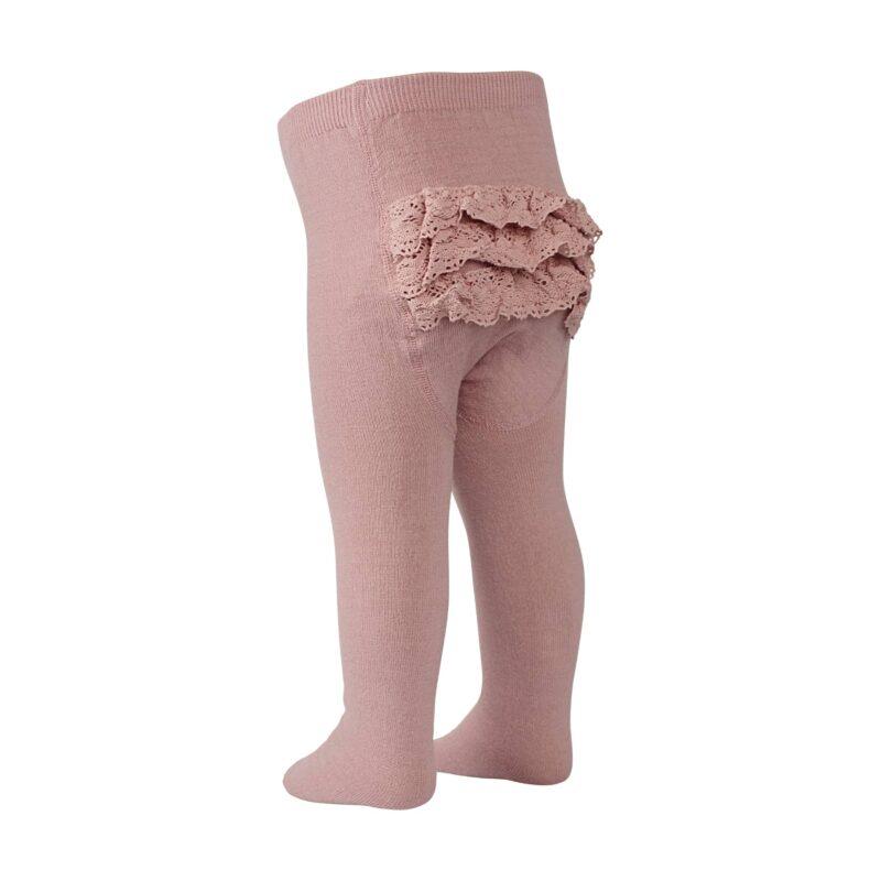 MP strømpebukser med flæser. Rosa strømpebukser i uld og bomuld.