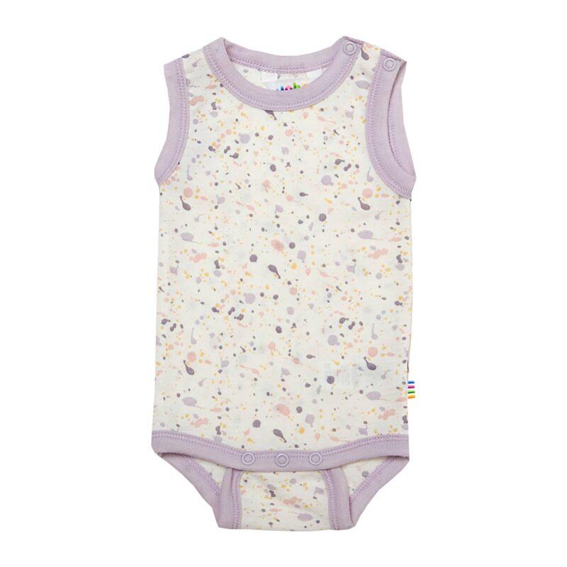 Joha uld body uden ærmer. Prik mønster og rosa kanter.