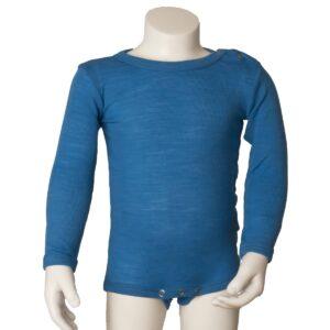 Joha sommerbody med lange ærmer. Blå body i uld silke.