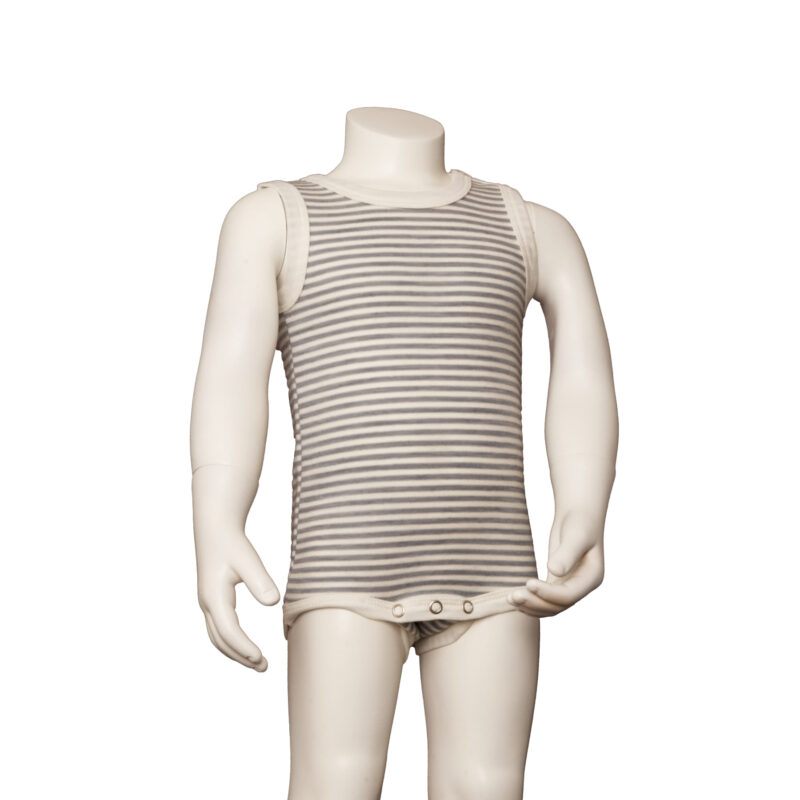 Joha body uden ærmer. Uld bomuld body med korte ærmer. Stribet grå og hvid.
