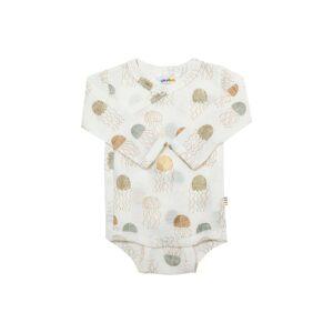 Joha body til præmatur baby. Hvid body i uld silke med havmotiv.