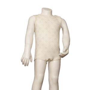 Joha sommerbody i uld silke. Hvid med grå stjerner. Body uden ærmer.