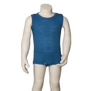 Joha sommerbody uden ærmer. Blå body i uld silke.