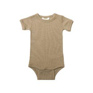 Joha body med korte ærmer. Uld silke body i beige.