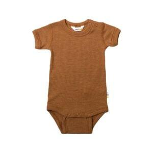 Joha body med korte ærmer. Uld silke body i kobber farve.